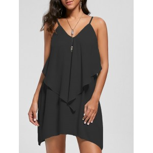 Overlay Flowy Mini Slip Dress - Black