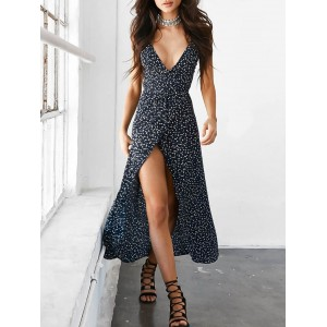 Polka Dot Cami Wrap Slip Maxi Dress - Deep Blue