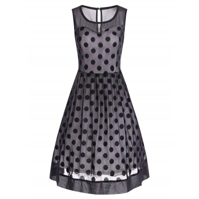 Retro Polka Dot Mesh Yarn Insert Dress - Black