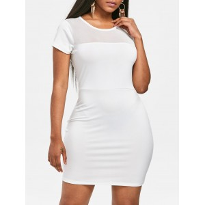 Short Sleeve Mesh Panel Bodycon Dress - White