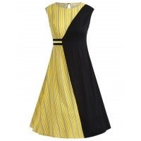 Striped Color Block Flare Dress - Black
