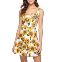 Sunflower Print Mini Dress - Sun Yellow