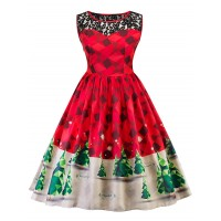 Vintage Lace Insert Christmas Pin Up Skater Dress - Red