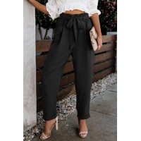 Black Pocketed Paper Bag Waist Pants Orange