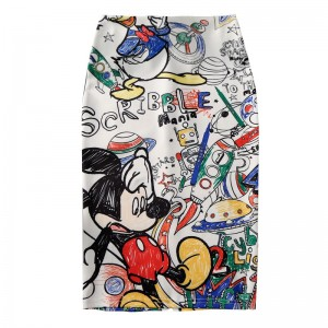 Cartoon Mouse Print High Waist Slim Skirt White