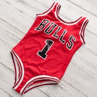 NO. 1 Chicago Bulls Monokini Swimwear Beach Wear High Waist Bathing Suit