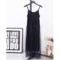Sexy Off Shoulder Summer Women Dress Female Loose Spaghetti Strap Mesh