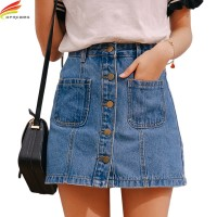 Denim Skirt High Waist A-line Mini Skirts Women Single Button Pockets Blue Jean Skirt Style