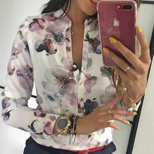 Elegant Casual Blouse Floral Print Button Design Long Sleeve