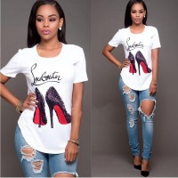 Fashion Printed T-shirt Woman Tee Red Bottom Heels