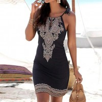 Halter Neck Boho Print Sleeveless Casual Mini Beach Sundress Black