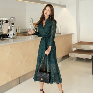Hollow-out Lace Women Long Dress Single Long Sleeve Green White