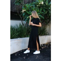 Maxi T Shirt Dress Women Summer Black Split