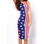 Casual Scoop Neck Sleeveless Bodycon Flag Pattern Sundress For Women