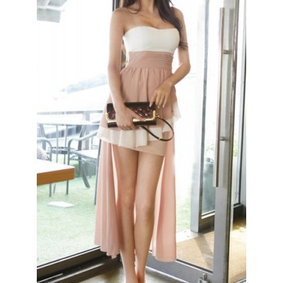 Color Block Sexy Ruffled Strapless Asymmetric Dress For Women