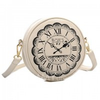 Fashion Women's Crossbody Bag With Clock Print and PU Leather Design