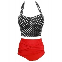 Retro Style Women's Halterneck High-Waisted Polka Dot Bikini Set