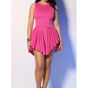 Sexy Solid Color Asymmetric Pleated Scoop Neck Sleeveless Dress For Women