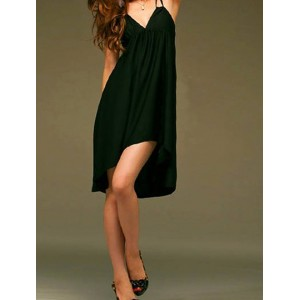 Sexy Style Spaghetti Strap Asymmetrical Solid Color Sleeveless Dress For Women
