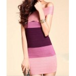Sexy Women's Boat Neck Color Block Bodycon Bandage Dress
