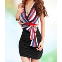 Sexy Women's V-Neck Striped Sleeveless Self-Tie Bodycon Dress