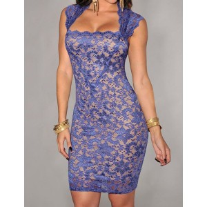 Slimming Solid Color Embroidered Sleeveless Dress For Women