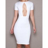 Solid Color Glamour Round Neck Cut Out Short Sleeve Dress For Women