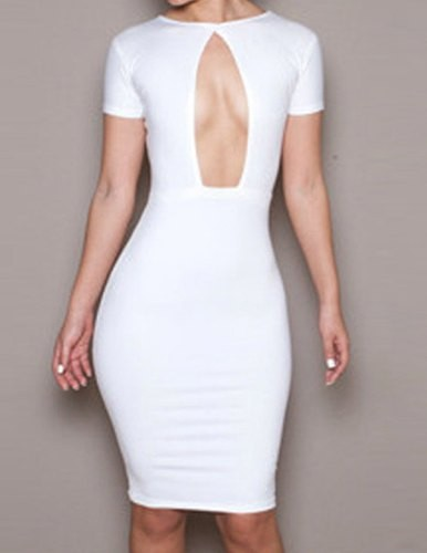592bb7b443 Solid Color Glamour Round Neck Cut Out Short Sleeve Dress For Women ...