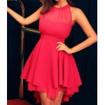 Solid Color Sleeveless Backless Round Collar Mesh Splicing Irregular Hem Dress For Women