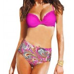 Stylish Halter Neck Printed High-Waisted Bikini Set For Women