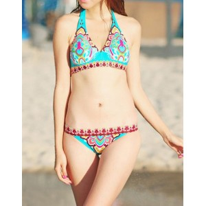 Stylish Women's Halterneck Printed Bikini Set