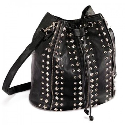 Trendy Women's Crossbody Bag With Solid Color and Rivets Design