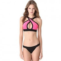 Women's Bikinis Monokini Neon Color Swimsuit Set Push Up Bikini Set Candy Colour