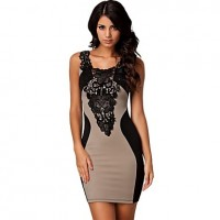 Womens Round Collar Cocktail Party Evening Bodycon Dress