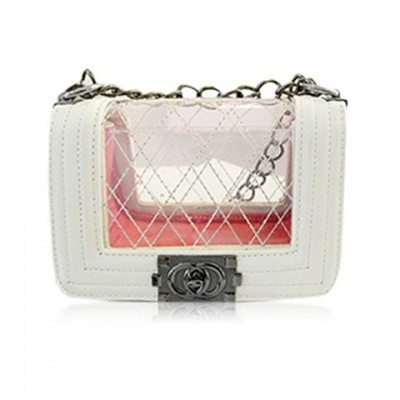 Fashion Women's Crossbody Bag With Transparent and Chains Design
