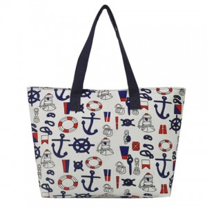 Preppy Women's Shoulder Bag With Print and Canvas Design