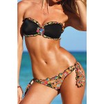 Printed Tempting Strapless Two-Pieces Swimwear For Women