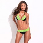 Chic & Fantastic – RELLECIGA Solid Black + Green Lace Triangle Bikini Set with Braided Ties and Light Removable Padding
