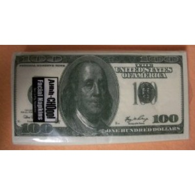 100 Dollar Bill Printed Napkins Tissues, 10 ct.