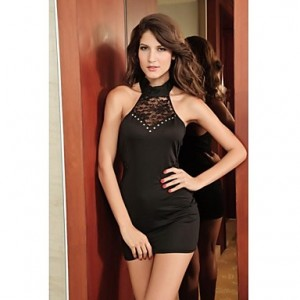 Black Sexy Halter Fashion Lady Club Dress Lace Mini Dress Party Wear