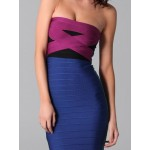 Elegant Women's Color Block Strapless Bodycon Bandage Dress