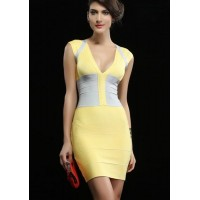 Elegant Women's V-Neck Color Block Zippered Bodycon Bandage Dress