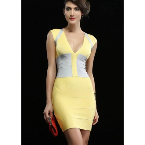 7347dedd1c01 Elegant Women s V-Neck Color Block Zippered Bodycon Bandage Dress ...