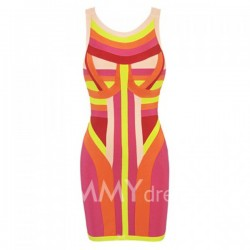 Multi-Colorful Print Sleeveless Scoop Neck Polyester Sexy Style Bandage Dress For Women