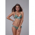 Paisley Flower Print Bikini Set with Light Blue Bow&Ties