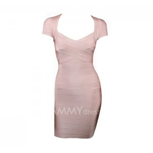 Plunging Neckline Stripes Short Sleeve Bandage Dress For Women