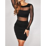 Sexy Women's Scoop Neck Mesh Splicing Long Sleeve Backless Dress