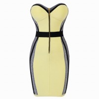 Slim Fit Strapless Color Splicing Zipper Up Bandage Dress For Women