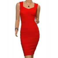 Solid Color Casual Sweetheart Neck Sleeveless Packet Buttock Bandage Dress For Women