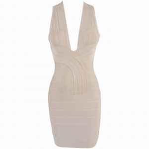 Solid Color Noble Style Back Criss-Cross Sleeveless V-Neck Polyester Bandage Dress For Women